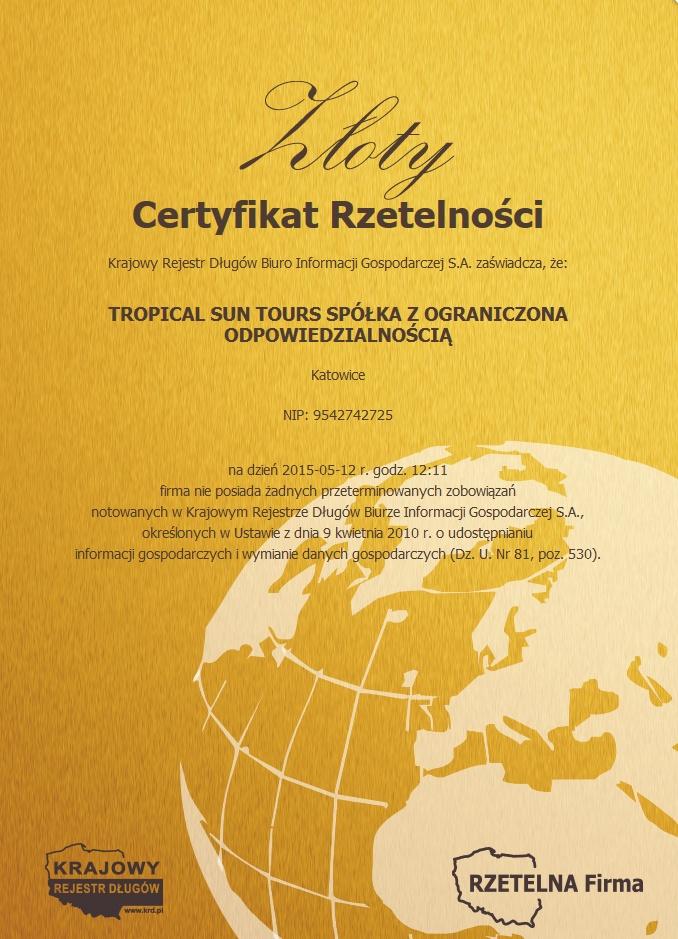 Certyfikat Rzetelności Tropical Sun Tours Sp. z o.o.